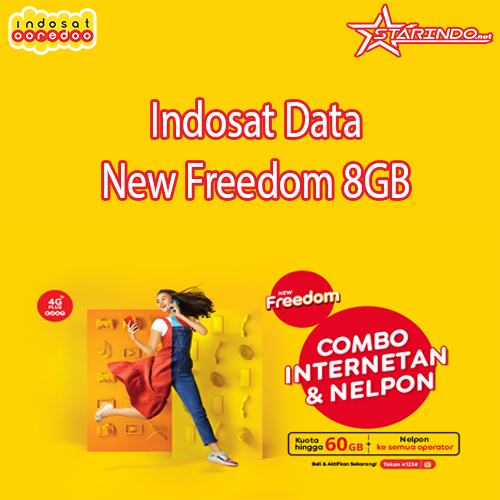 Paket Indosat Indosat Data New Freedom - New Freedom 8GB 30 Hari